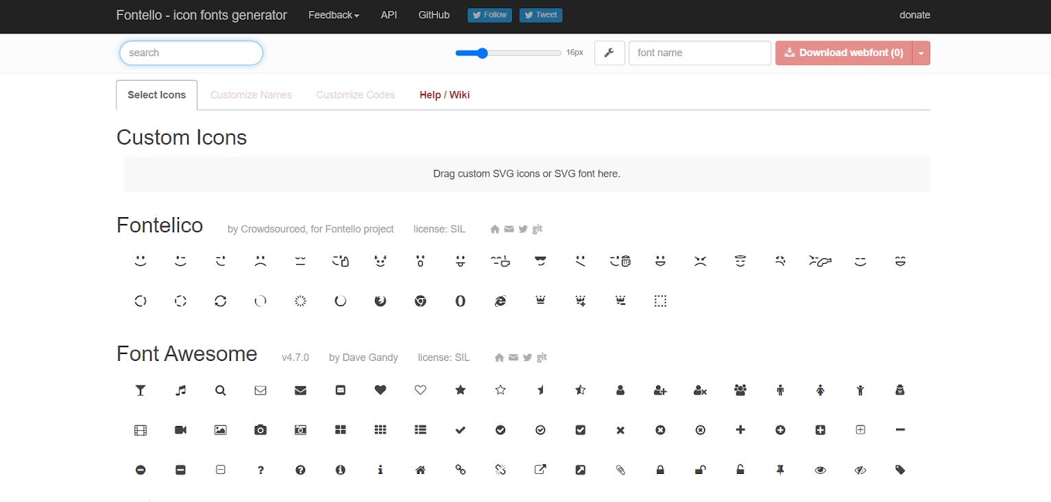 Icon fonts: Fontello